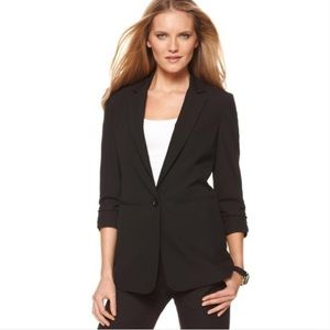 Michael Kors Ruched Sleeve Boyfriend Black Blazer
